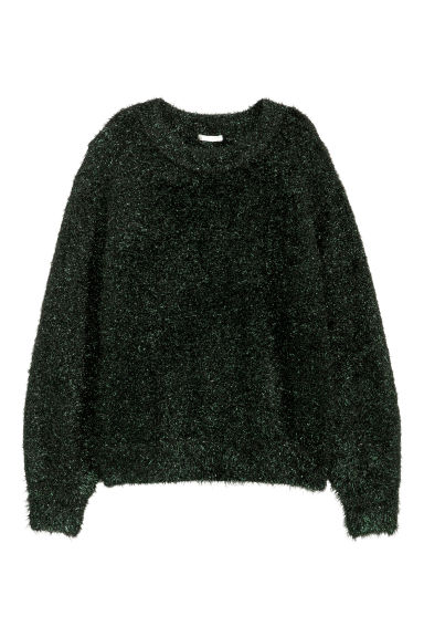 Knitted jumper - Black/Green glittery - Ladies | H&M