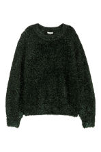 Knitted jumper - Black/Green glittery - Ladies | H&M 2