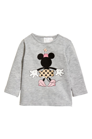 Long-sleeved top - Grey/Minnie Mouse - Kids | H&M CN