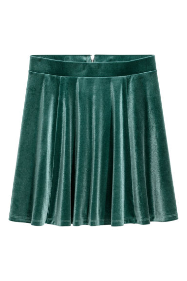 Circular skirt - Dark green/Velvet -  | H&M CN