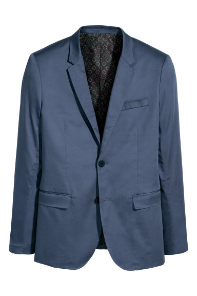Satijnen blazer - Skinny fit - Donkerblauw - HEREN | H&M BE