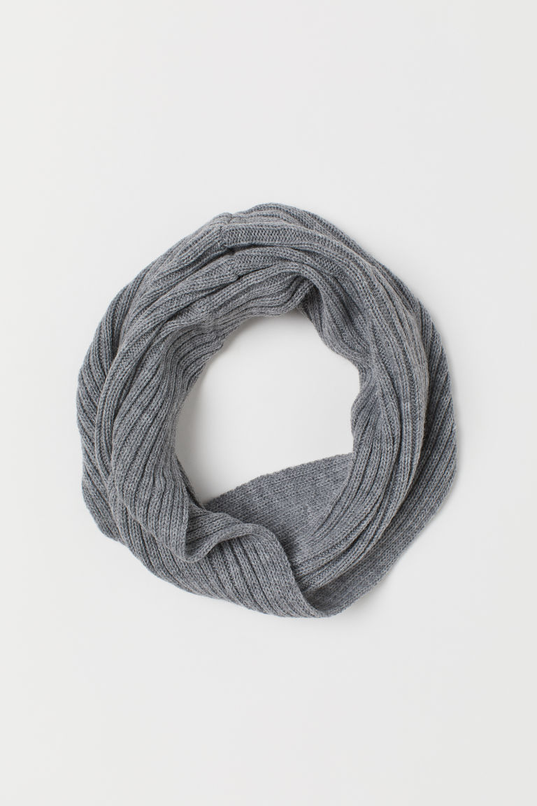 Knitted tube scarf - Grey marl - Kids | H&M GB