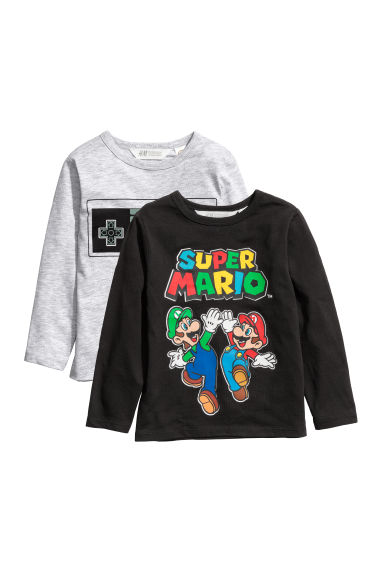 2-pack jersey tops - Black/Super Mario -  | H&M CN