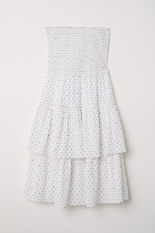 Strapless flounced dress