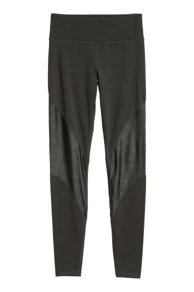 Sports tights - Dark khaki green - Ladies | H&M CN