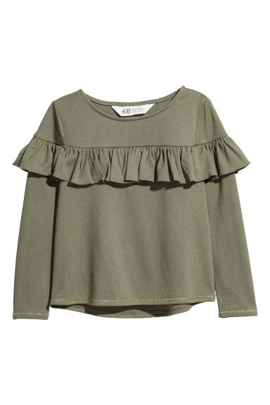 Flounced top - Dark khaki green -  | H&M CN