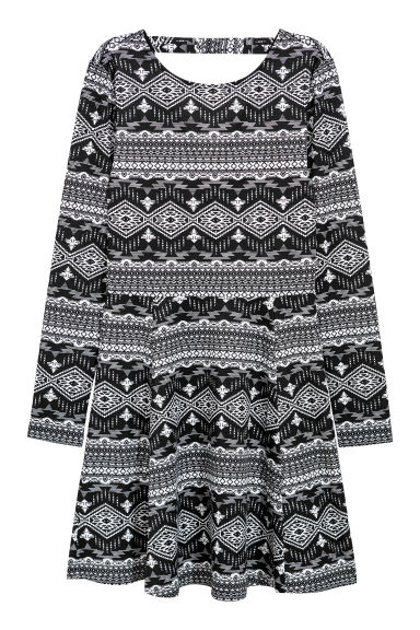 Patterned jersey dress - Black/White patterned - Ladies | H&M