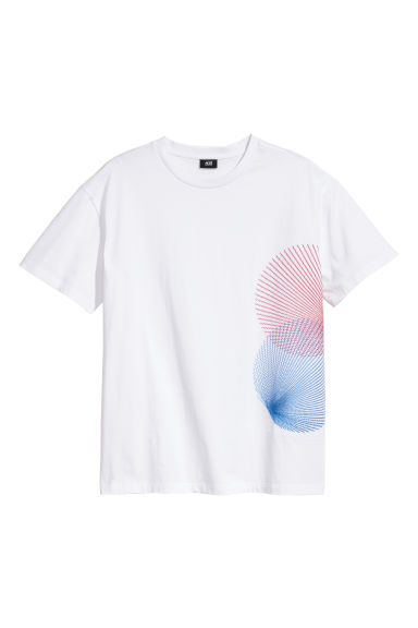 T-shirt with embroidery - White - Men | H&M CN