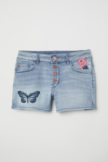 Denim Shorts with Appliqués