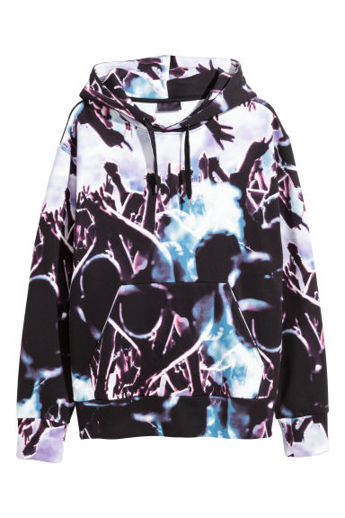 Patterned hooded top - Black/Patterned - Men | H&M