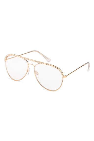 Glasses with sparkly stones - Gold-coloured - Ladies | H&M CN