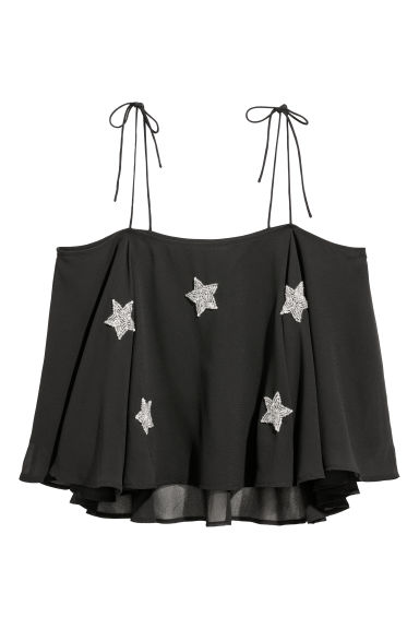Bead-embroidered vest top - Black/Stars -  | H&M