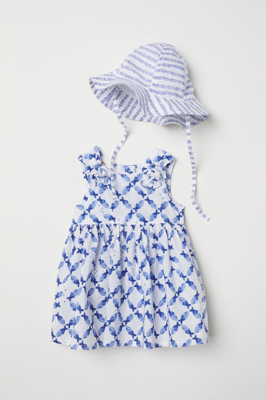 Dress and sun hat - White/Blue patterned - Kids | H&M CN