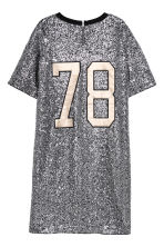 T-shirt dress with sequins - Black/Silver-coloured - Ladies | H&M CN 3