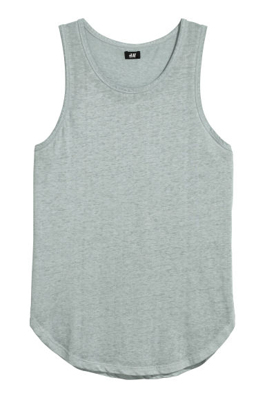 Block-patterned vest top - Light grey marl - Men | H&M GB