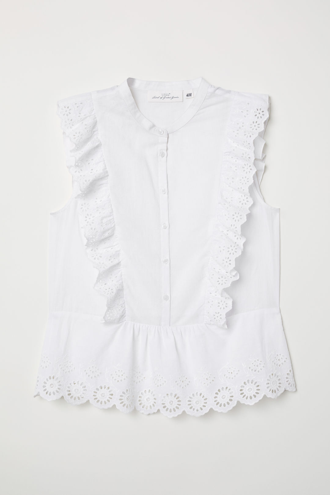 Blouse with broderie anglaise - White - Ladies | H&M GB 1