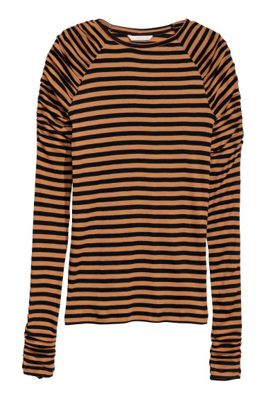 Long-sleeved jersey top - Beige/Black striped -  | H&M