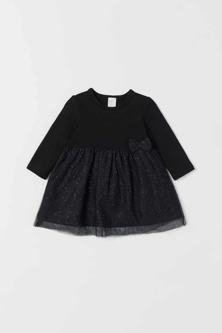 Dress with a tulle skirt - Night black -  | H&M GB