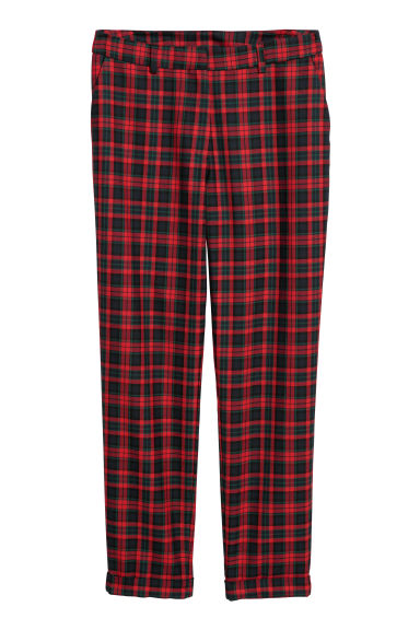 Cigarette trousers - Red/Checked - Ladies | H&M CN