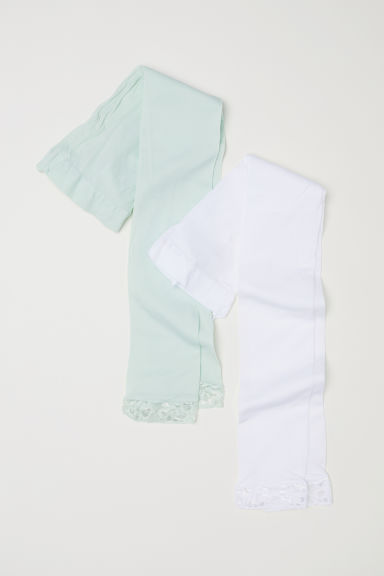 2-pack leggings with lace - Light green/White - Kids | H&M CN