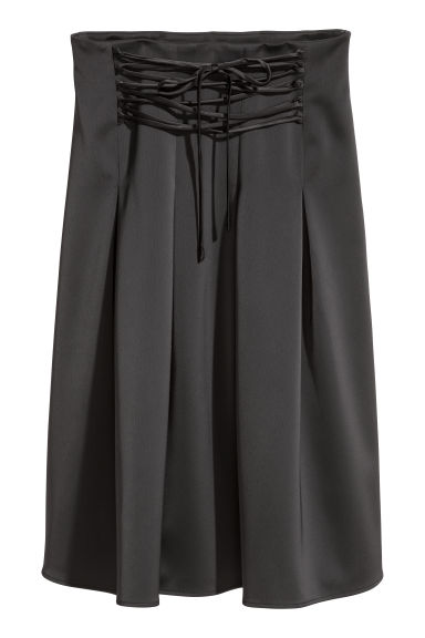 Satin skirt with lacing - Black -  | H&M
