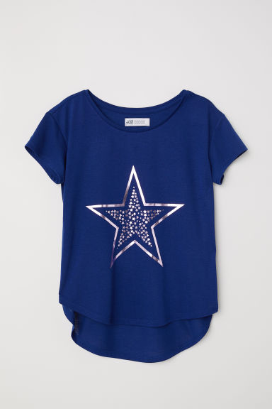 Printed jersey top - Dark blue/Star - Kids | H&M CN