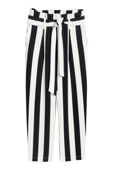 Wide trousers - White/Black striped - Ladies | H&M