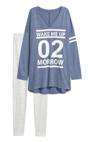 Pyjama top and leggings - Blue/Light grey marl - Ladies | H&M CN