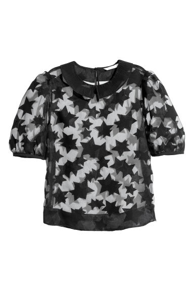 Semi-transparent blouse - Black/Patterned - Ladies | H&M