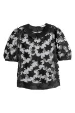 Semi-transparent blouse - Black/Patterned - Ladies | H&M CN 2