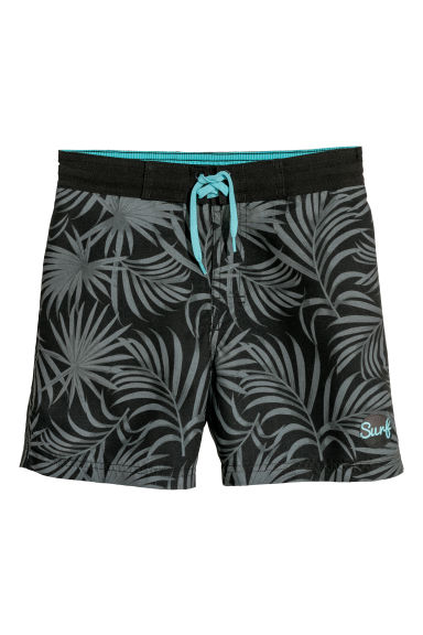 Patterned swim shorts - Dark grey/Leaves - Kids | H&M CN