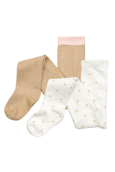 2-pack fine-knit tights - Natural white/Spotted - Kids | H&M CN
