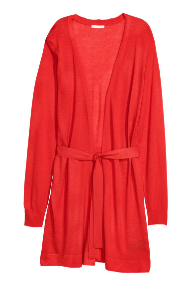 Long cardigan with a tie belt - Bright red -  | H&M GB