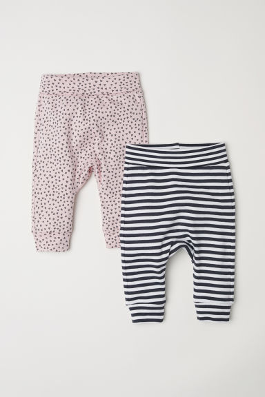 2-pack jersey trousers - Powder pink/Hearts - Kids | H&M CN