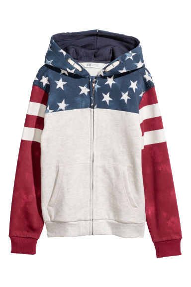 Hooded jacket - Light grey/Block-coloured - Kids | H&M CN