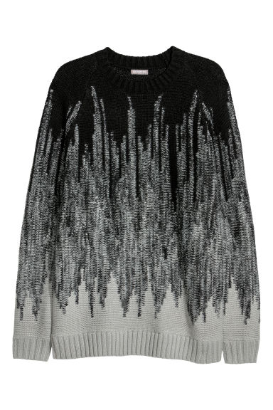 Pattern-knit jumper - Black/Patterned -  | H&M GB