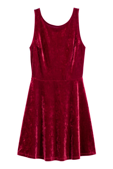 Short dress - Dark red/Velvet - Ladies | H&M GB