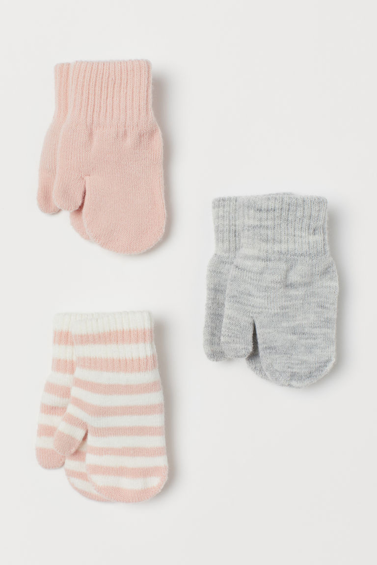 3-pack mittens - Powder pink/Striped - Kids | H&M GB