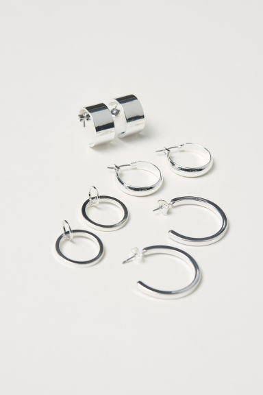4 pairs earrings - Silver-coloured - Ladies | H&M CN