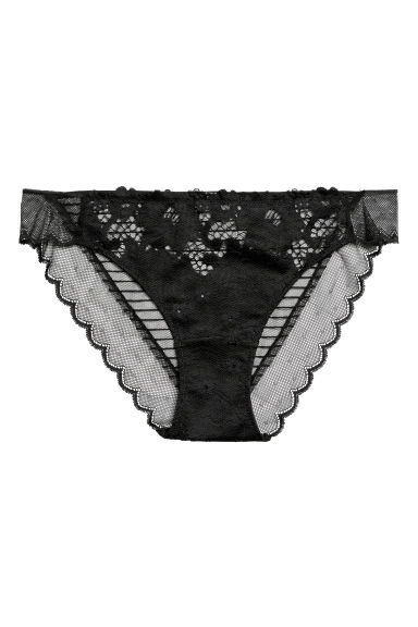 Lace bikini briefs - Black - Ladies | H&M