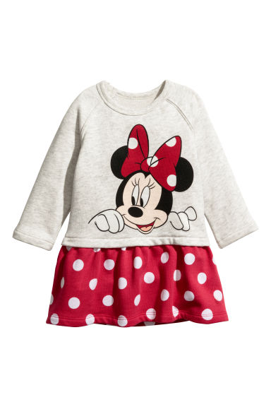 Sweatshirt dress - Light grey/Minnie Mouse -  | H&M CN