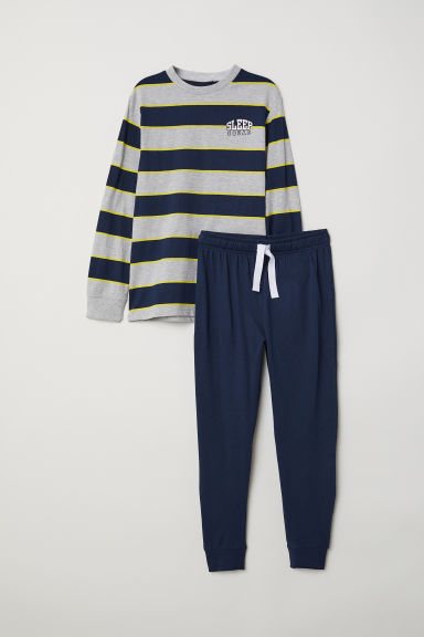 Jersey pyjamas - Dark blue/Grey - Kids | H&M
