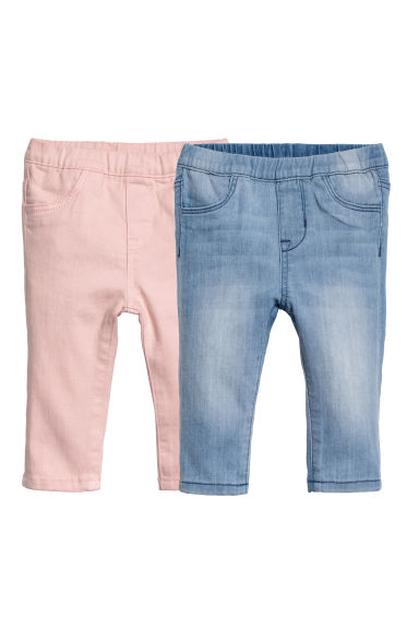 Leggings en denim, lot de 2 - Bleu denim clair/rose - ENFANT | H&M CH
