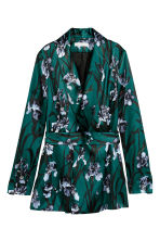 Jacket with a belt - Dark green/Floral - Ladies | H&M CN 1