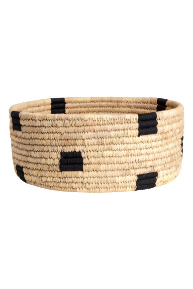 Braided straw basket - Natural/Black -  | H&M CN