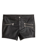 Imitation leather shorts - Black -  | H&M CN 2