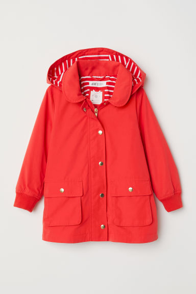 Parka with a hood - Bright red -  | H&M CN