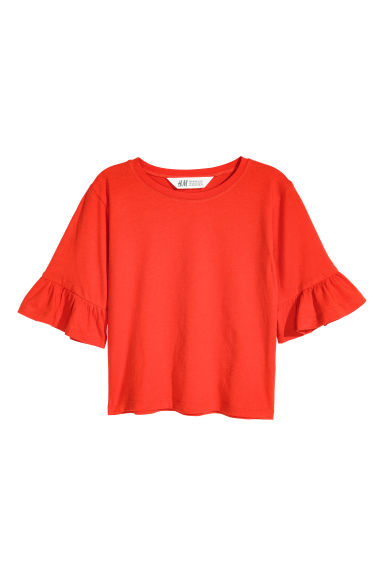 Flounce-sleeved jersey top - Bright red -  | H&M