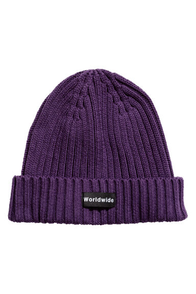 Rib-knit hat - Dark purple - Men | H&M CN