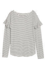Long-sleeved flounced top - Natural white/Black striped - Ladies | H&M CN 2